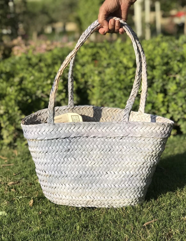 Straw Bag: Whitish Blue Finish