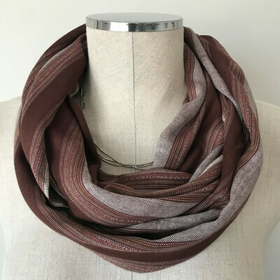 Infinity Small Scarf Wide Brown Stripes