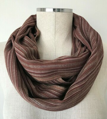 Infinity Small Scarf Thin Brown Stripes