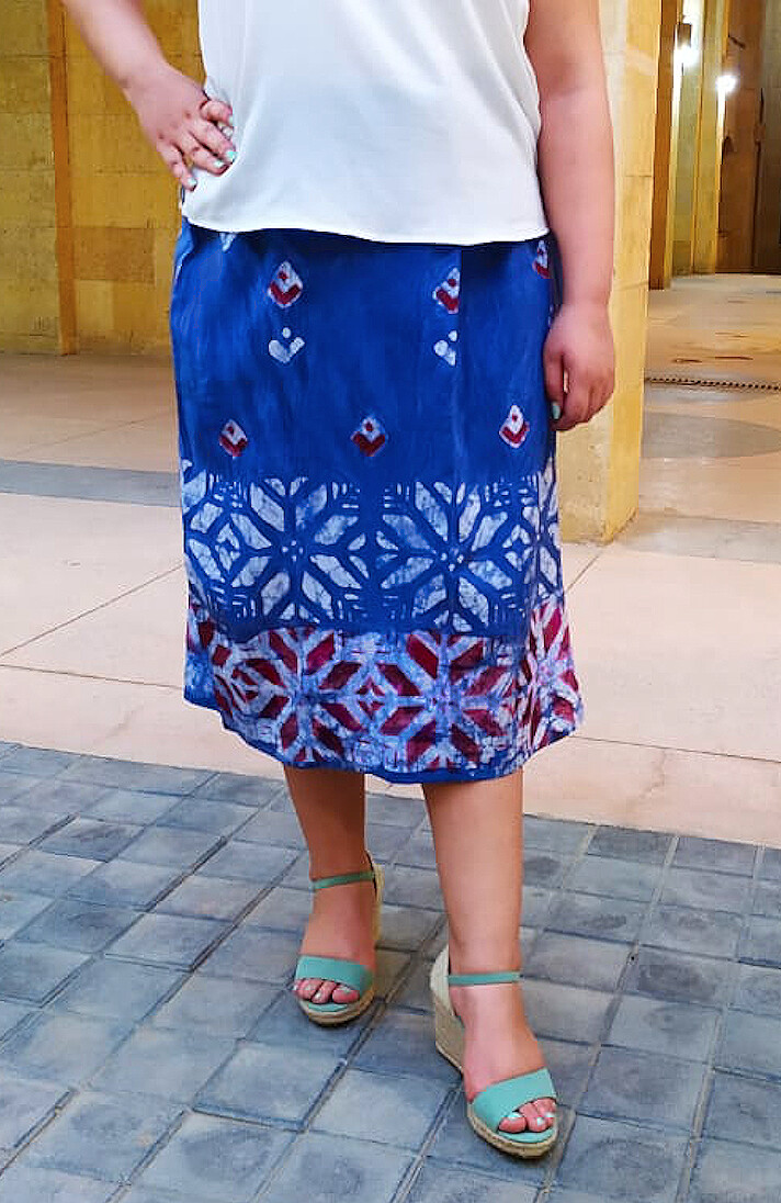 Samar Hassanein Batik Blue Skirt with White flowers