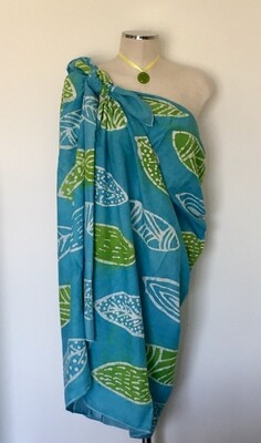 Pareo Zein (cache maillot) Turquoise & Lime Green, leaves design