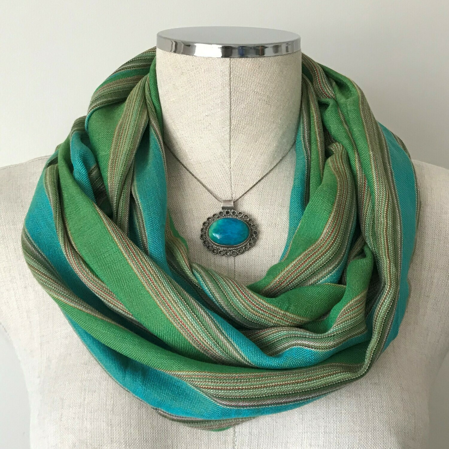 Infinity Small Scarf Turquoise & Green Stripes