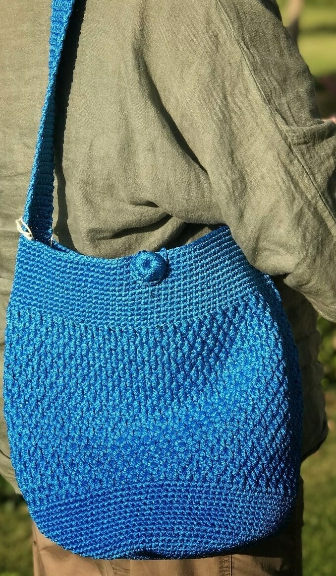 Crochet Shoulder Bag: Turquoise