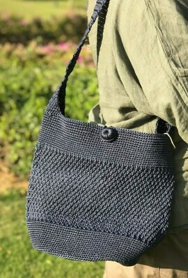 Crochet Shoulder Bag: Blue Grey  with matching pouch