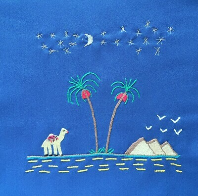 Tote Bag: Pale Royal Blue: Stars over the Pyramids