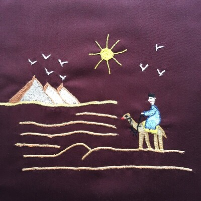 Tote Bag: Burgundy: Traveling to the Pyramids