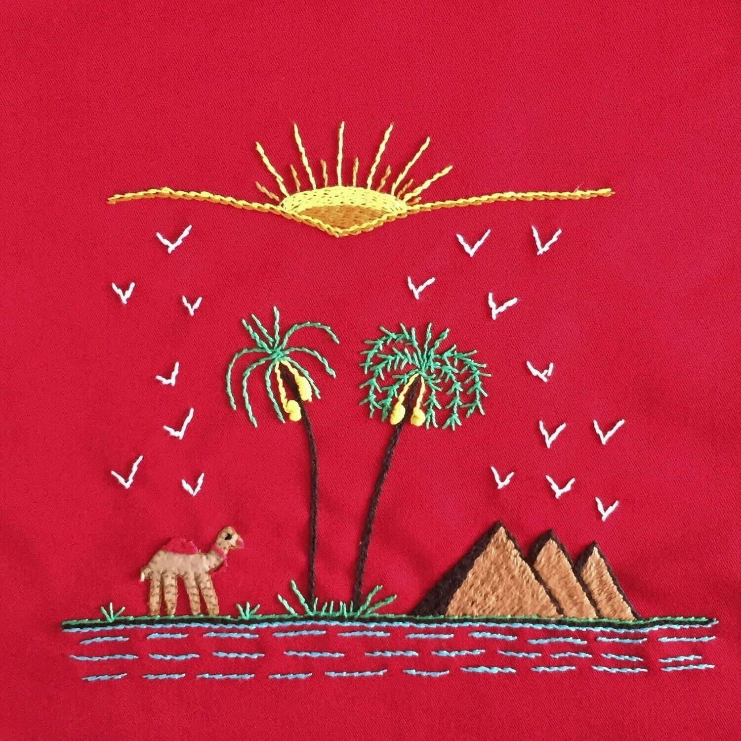 Tote Bag: Red: A Camel wondering by the Pyramids