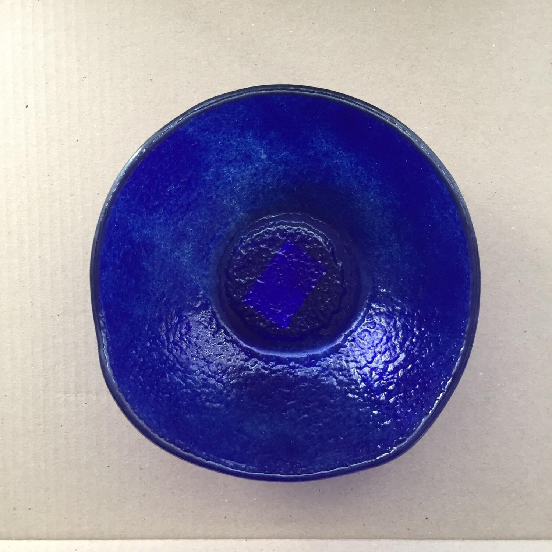 Royal Blue Large Fused Glass Bowl