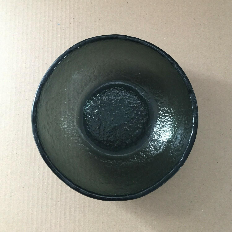 Black Fused Large Glass Bowl
