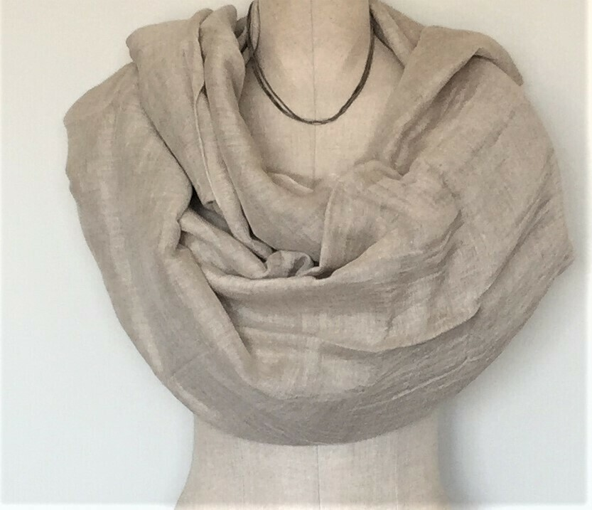 Linen Shawl: Beige, Very Light Light Brown,
