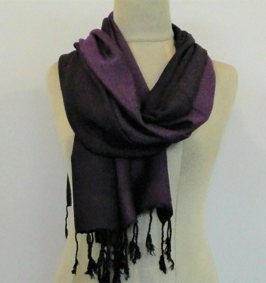 Doubleface Dark Purple & Black, Viscose