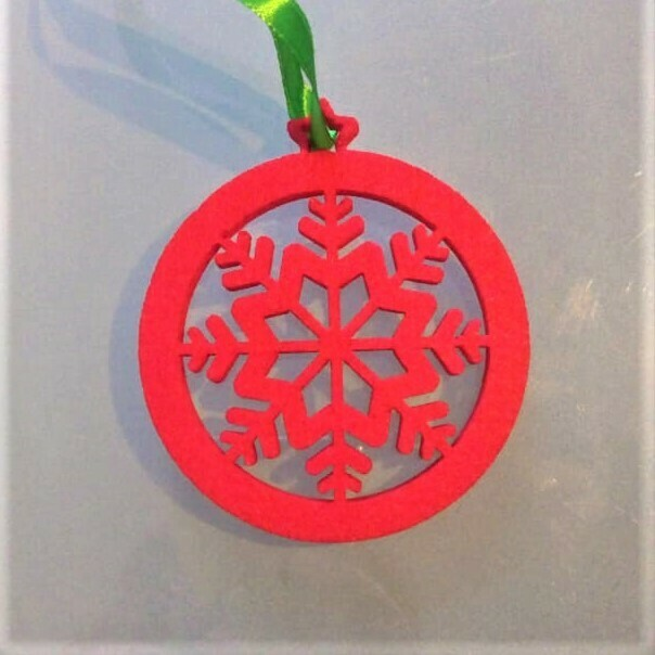 Christmas ornament, red felt star in a circle