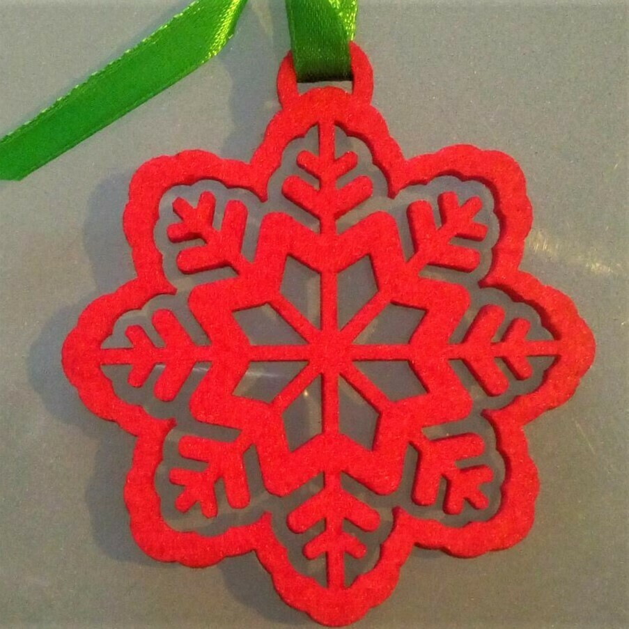 Christmas ornament, red felt star in a flower