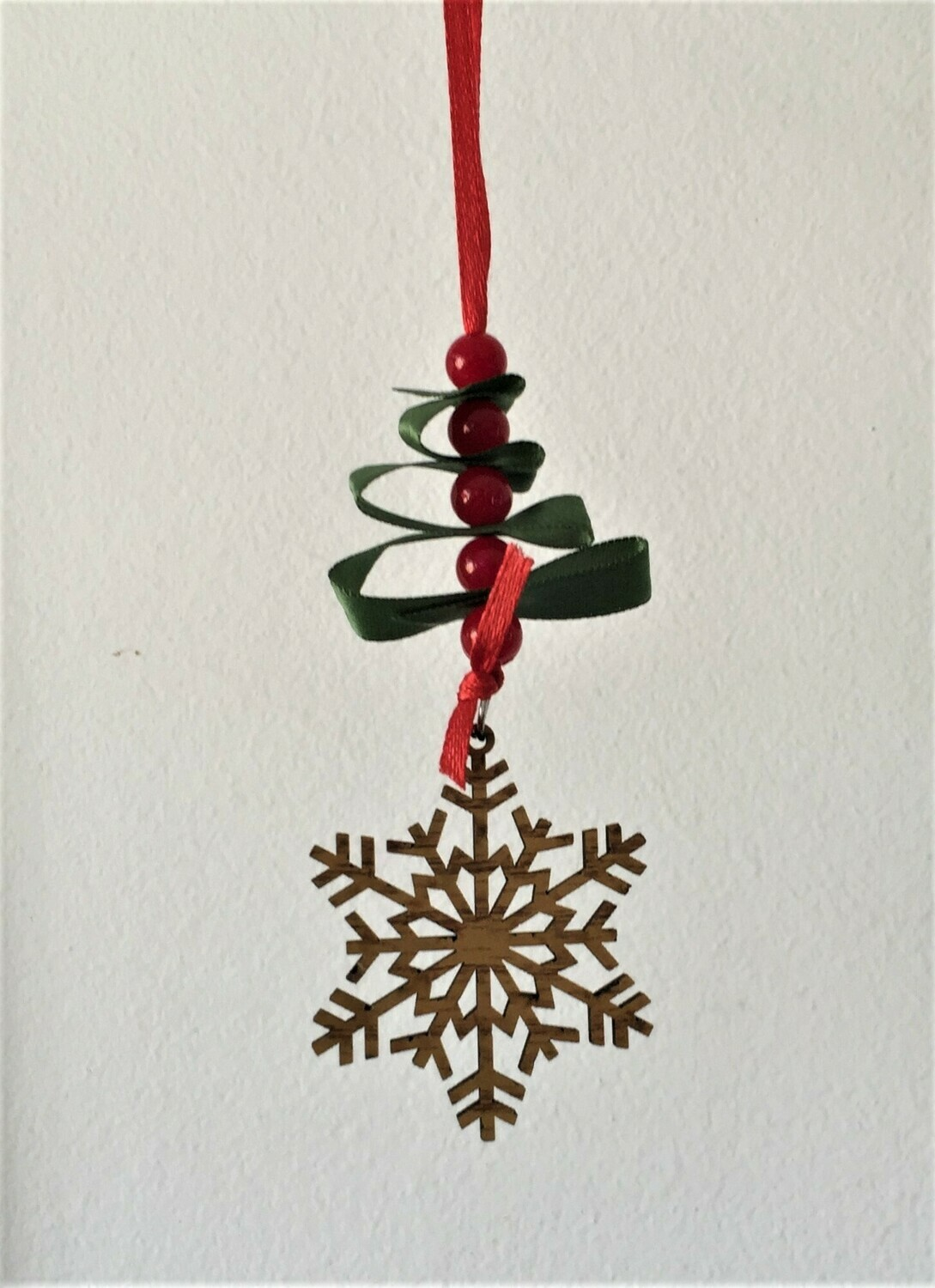 Christmas ornament, wooden star & beaded ribbon tree
