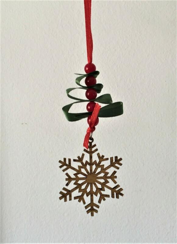 Christmas ornament, wooden star & beaded ribbon tree