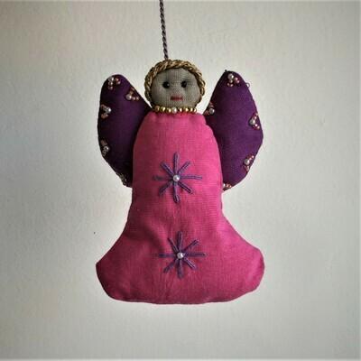 Angel, Embroidered Fabric Fuchsia