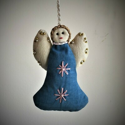 Angel, Embroidered Fabric Blue