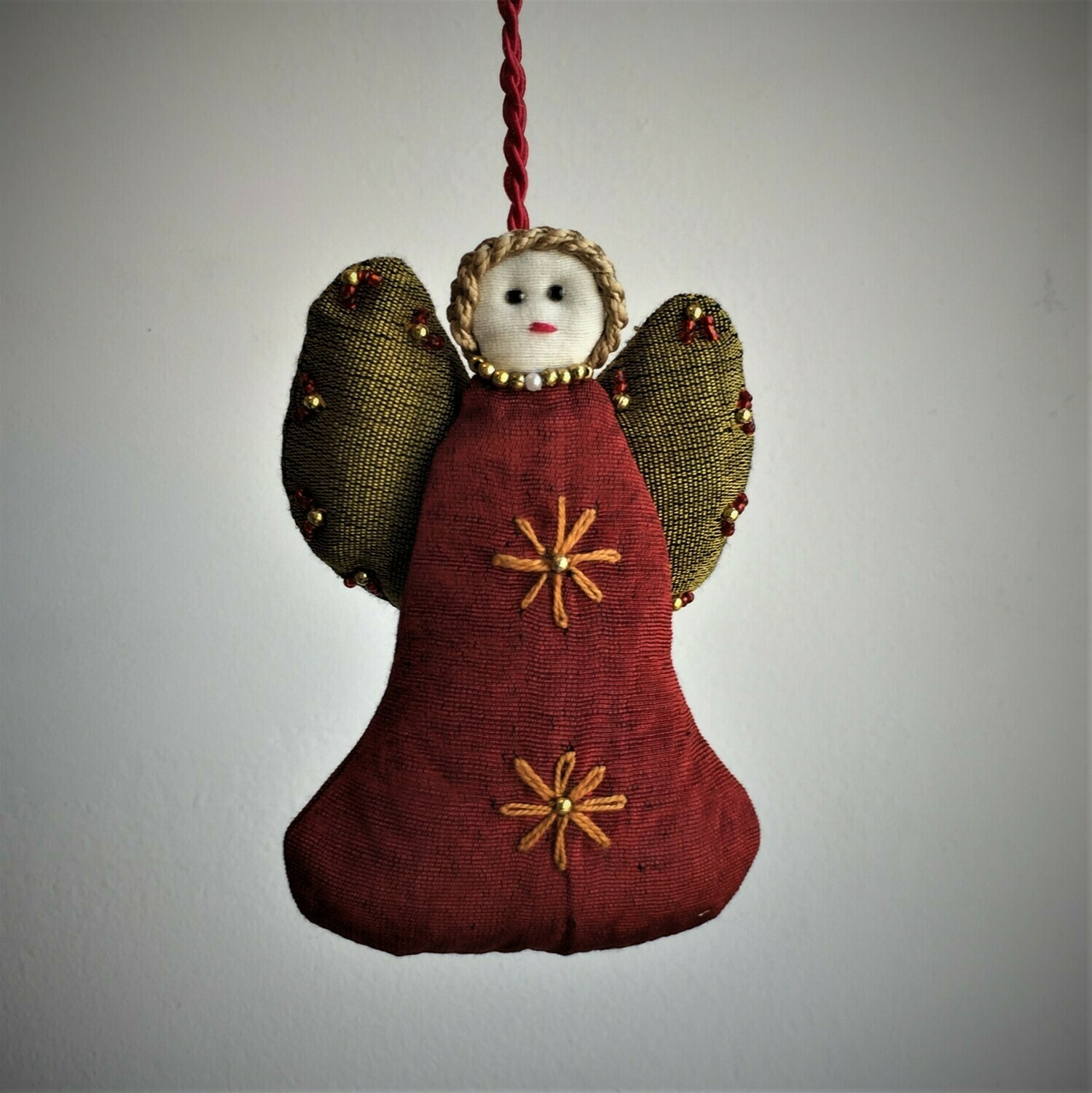 Angel, Embroidered Fabric, Red & Gold