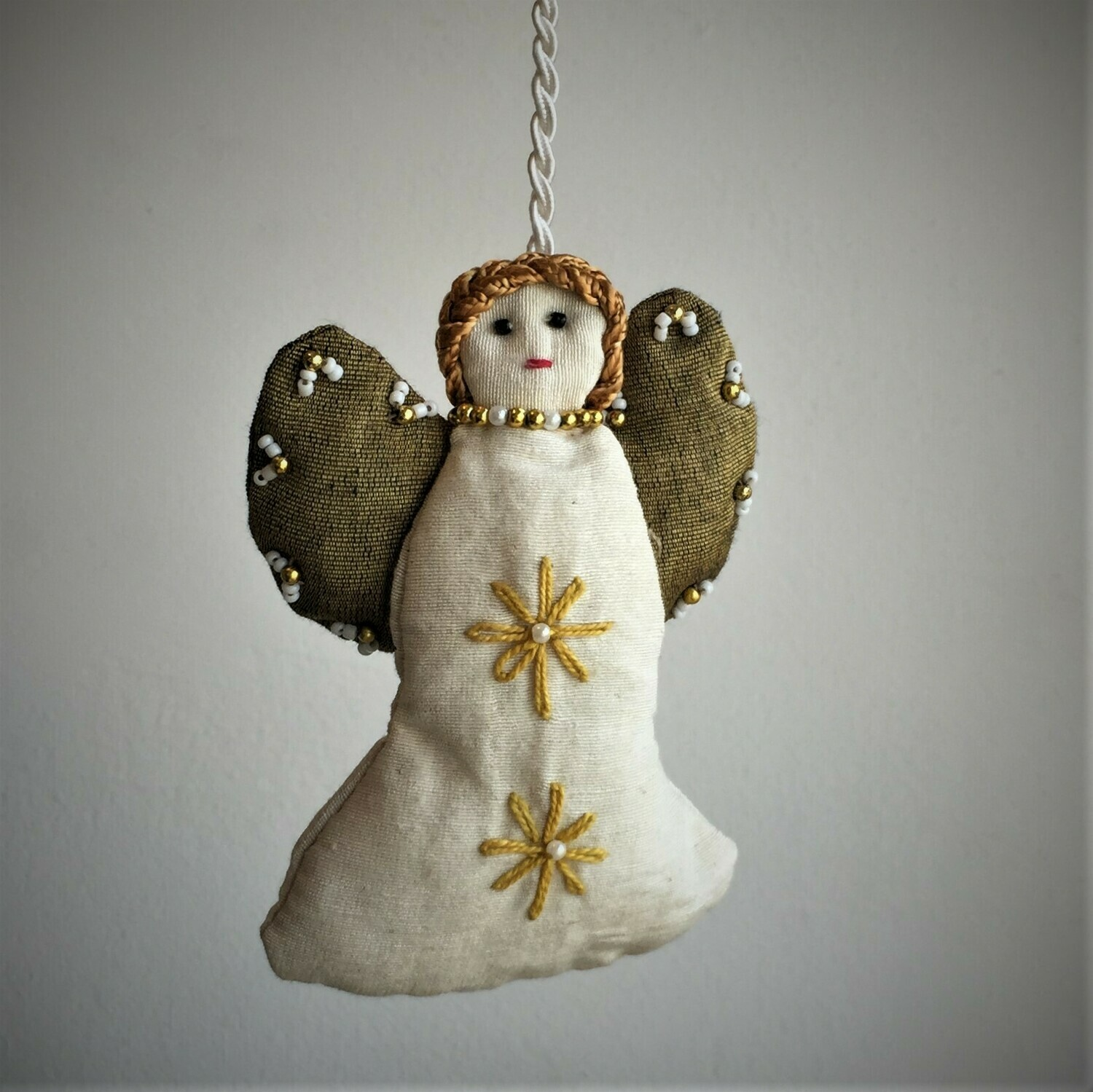 Angel, Embroidered Fabric, White & Gold wings