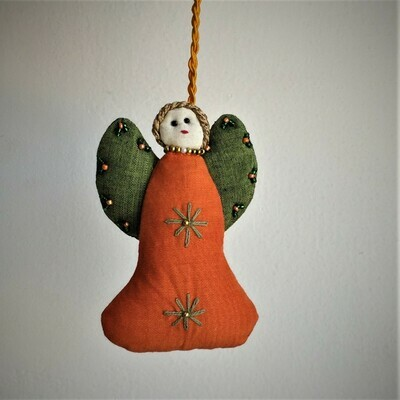 Angel, Embroidered Fabric, Orange & Green wings