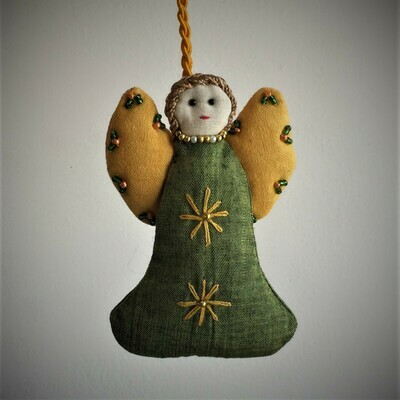 Angel, Embroidered Fabric, Olive Green