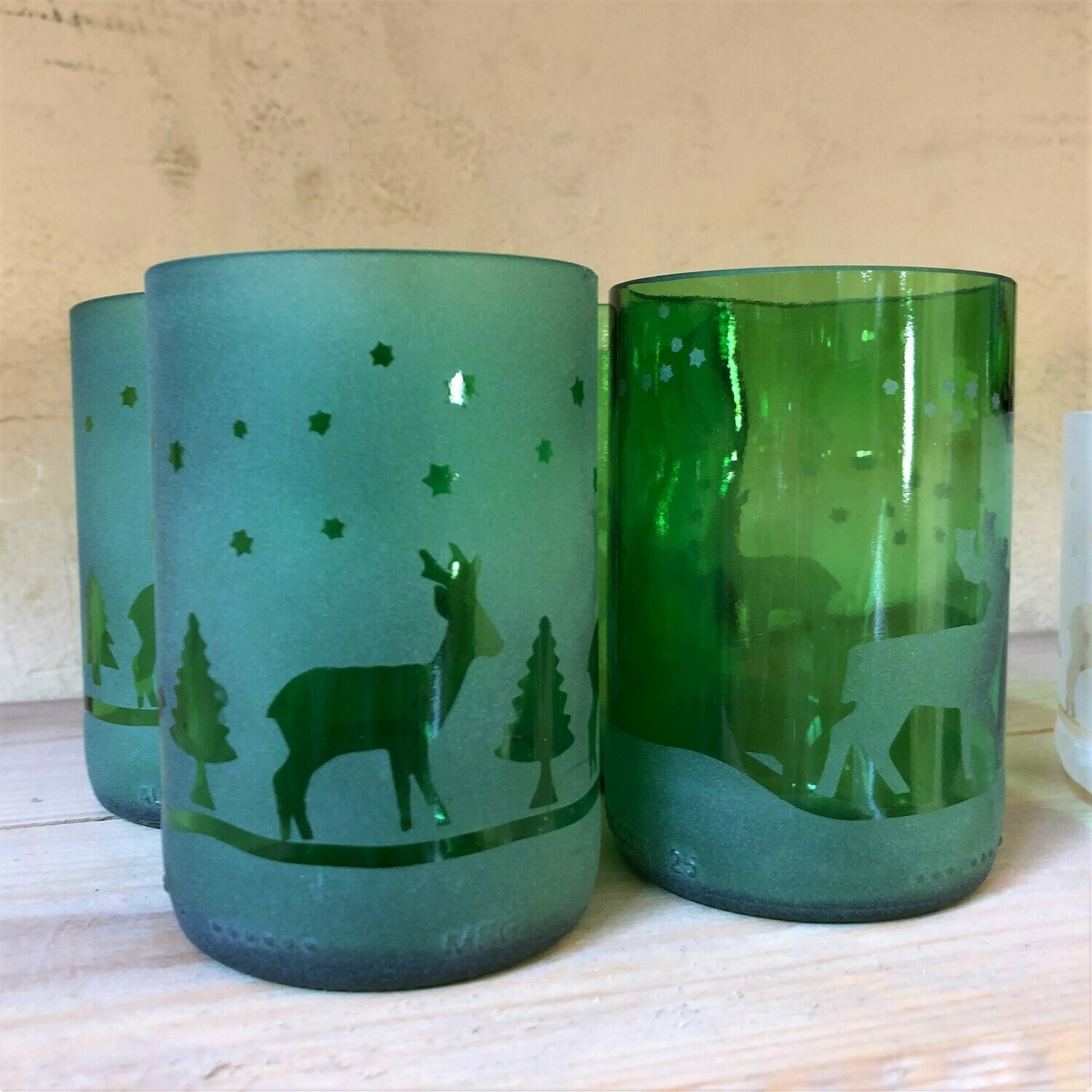 Green Christmas Glasses Reindeer, set of four