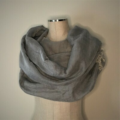 Linen Shawl: Dark Grey