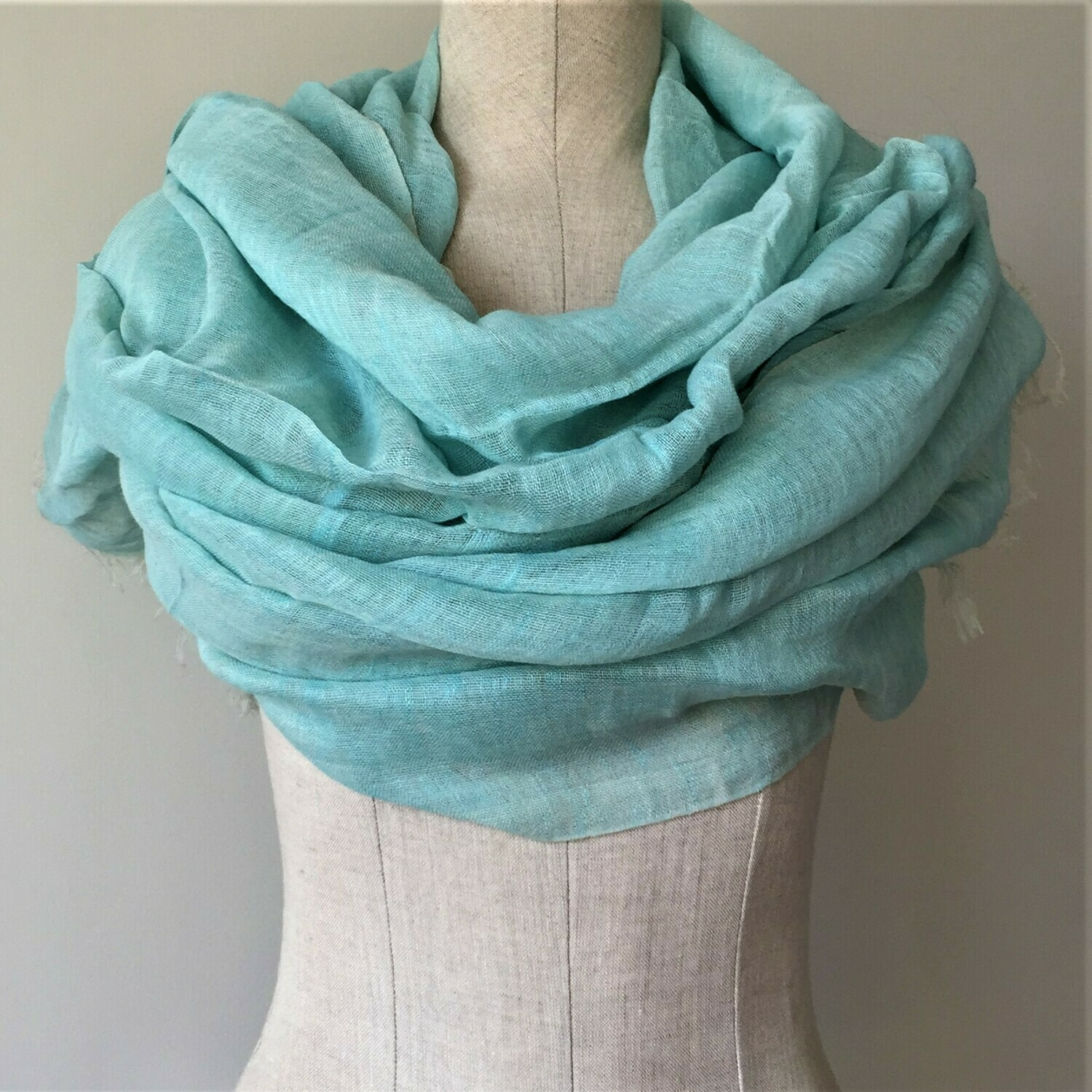 Linen Shawl: Light Turquoise
