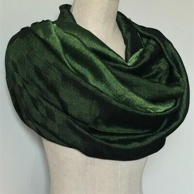 Double-face Shawl Silk Green & Black