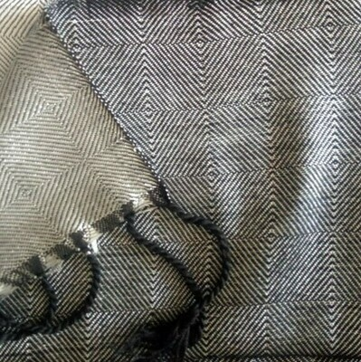 Double-face Shawl Art Silk Silver