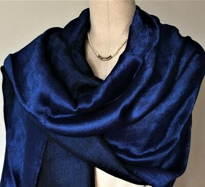 Double-face Shawl Art Silk Midnight Blue