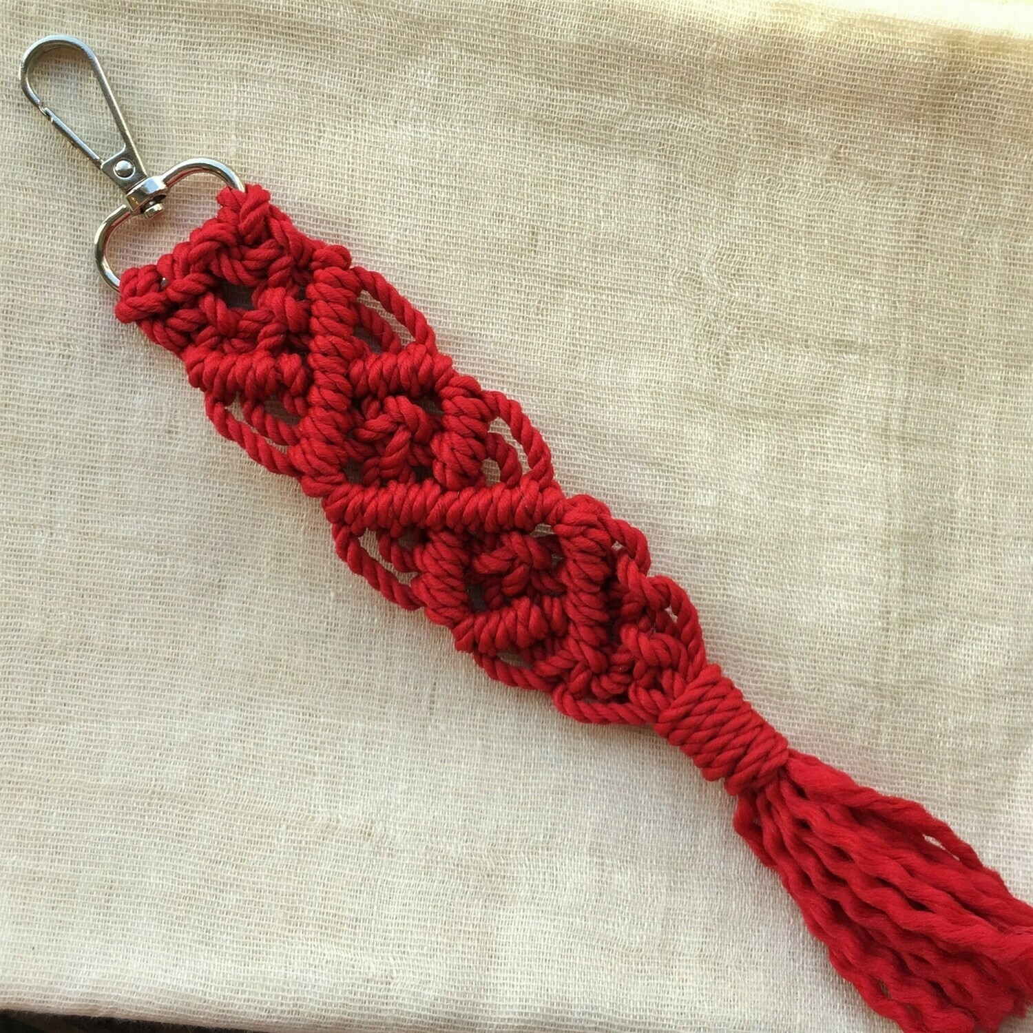 Keychain: hand made macramé, red