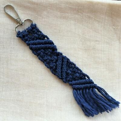 Keychain: hand made macramé, royal blue