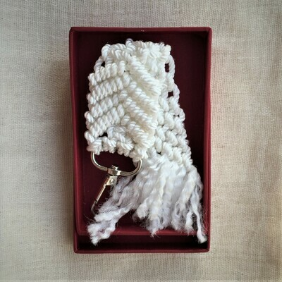 Gift wrapped hand made macramé keychain, white.