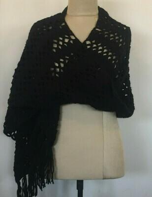 Black Wool Crochet Shawl, 70X 160cm