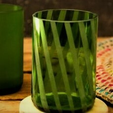Green Striped Glasses, set of four, small