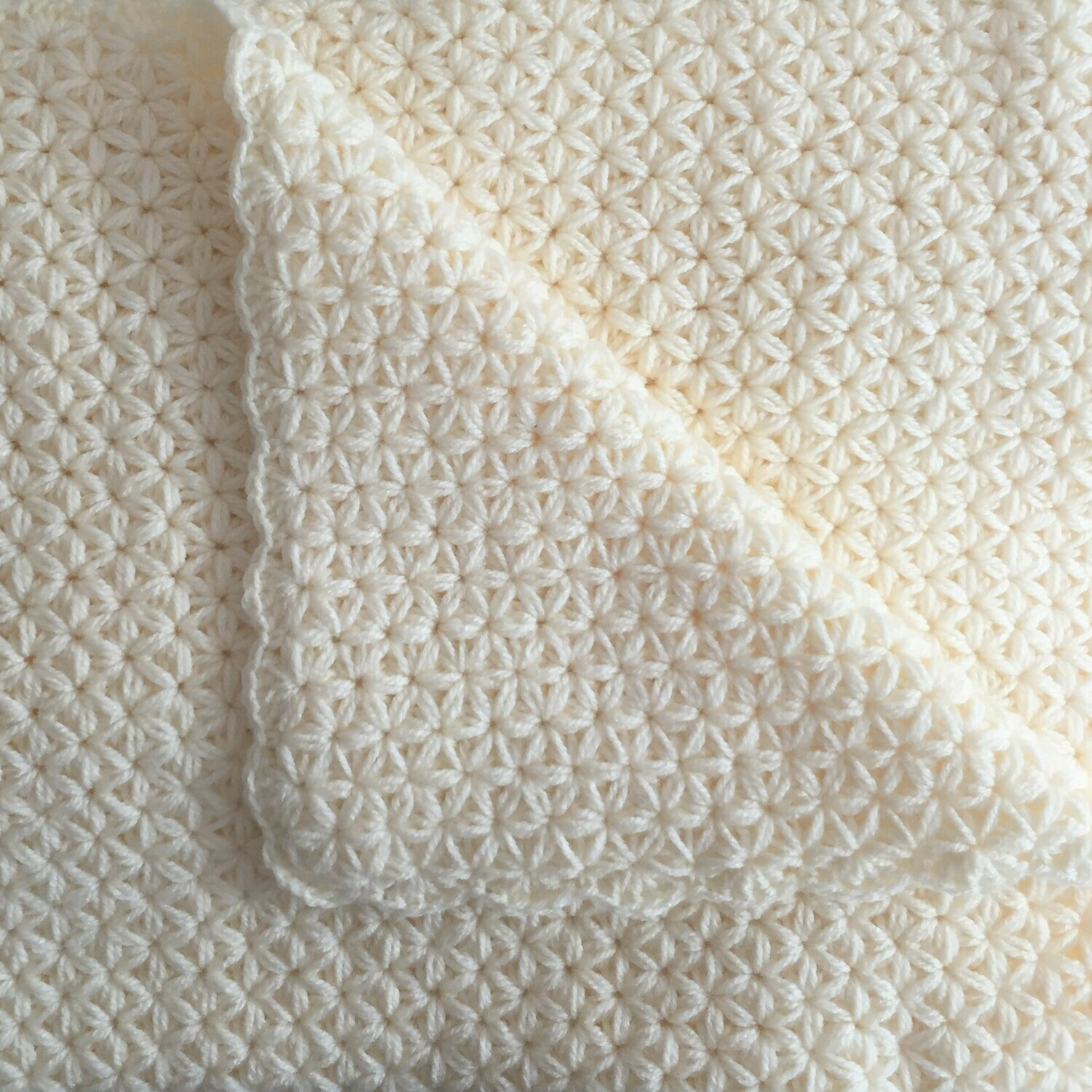 Baby Blanket: Jasmine Stitch: Cream