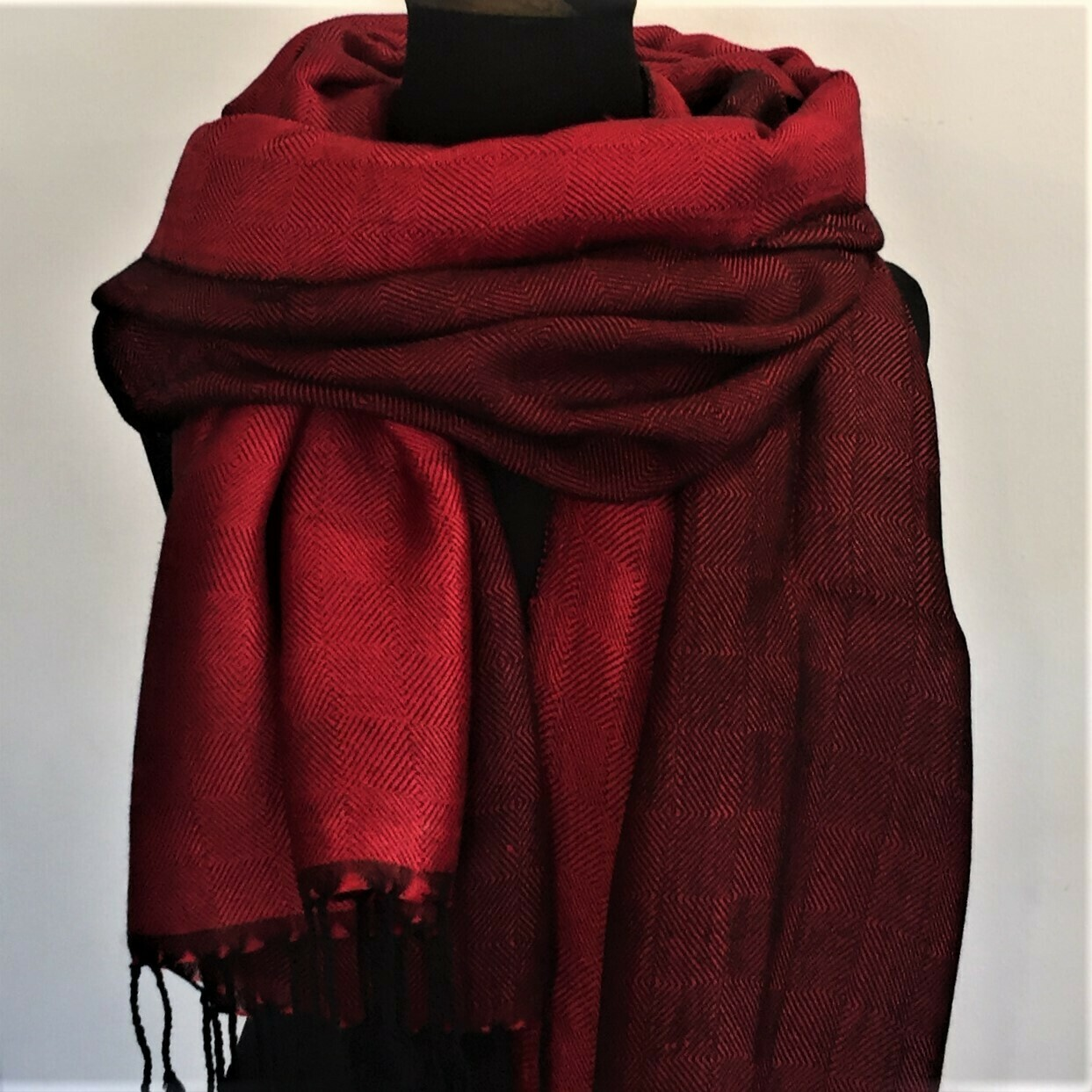 Double-face Shawl Art Silk Red