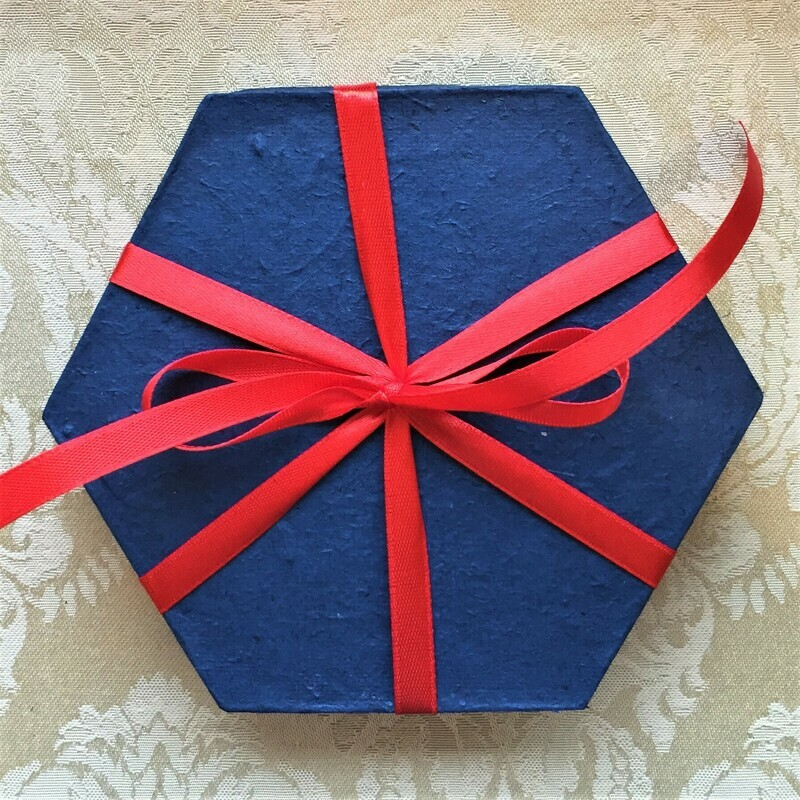 Gift Box, recycled rice paper, hexagonal blue
