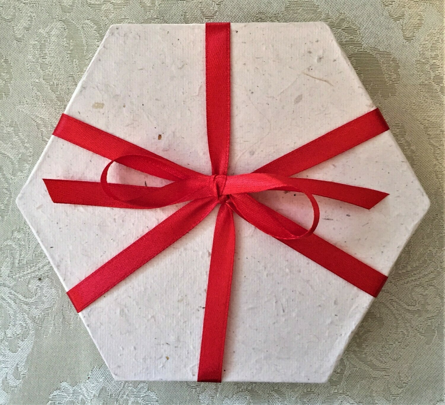 Gift Box, recycled rice paper, hexagonal natural colour