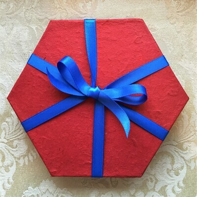 Gift Box, recycled rice paper, hexagonal red