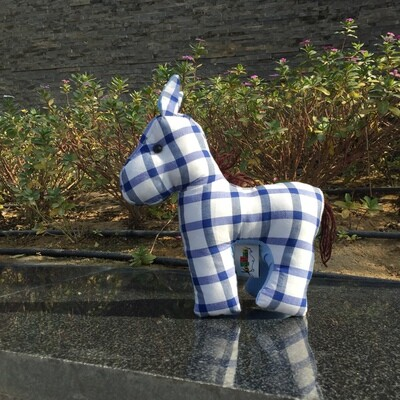 Toy: donkey in blue & white