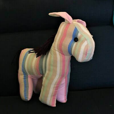 Toy: donkey in striped pink & blue