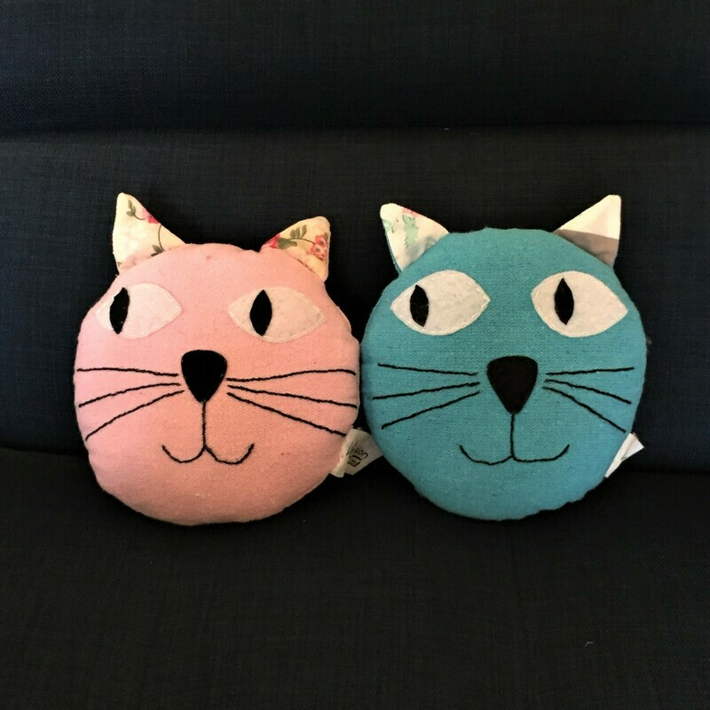 Toy: Small cat pillow, blue