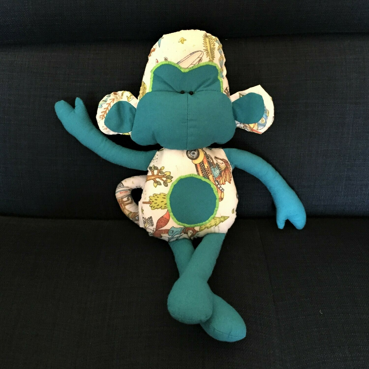 Toy: Monkey in  turquoise & print