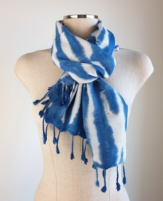 Hand-dyed Blue & White Stripes Scarf
