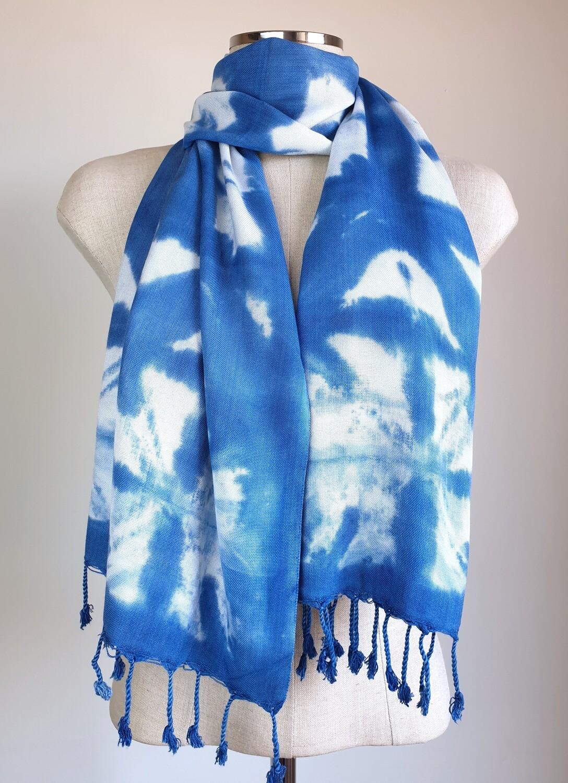 Hand-dyed Blue & White Shibori Star Scarf