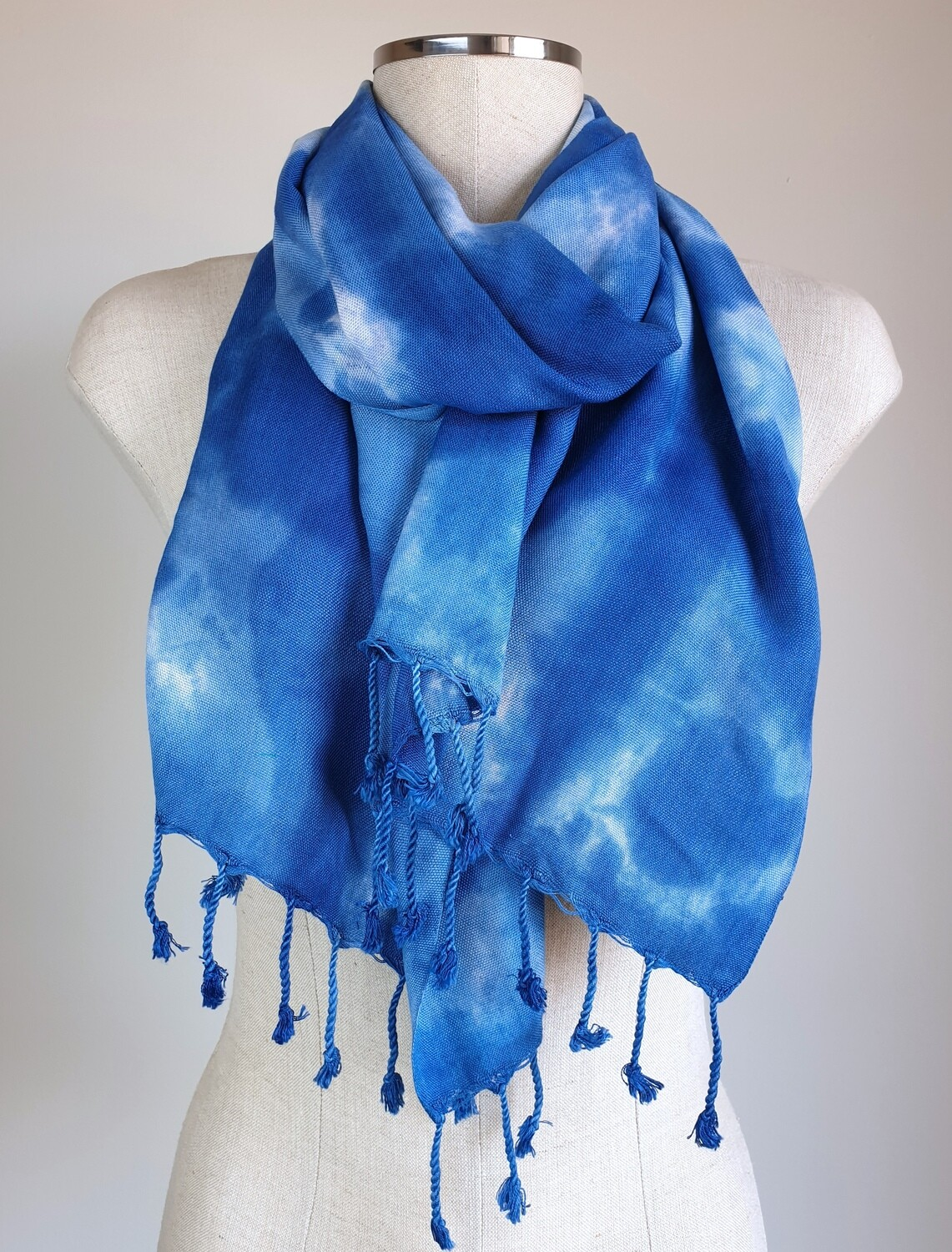 Hand-dyed Blue & Sky Blue Scarf