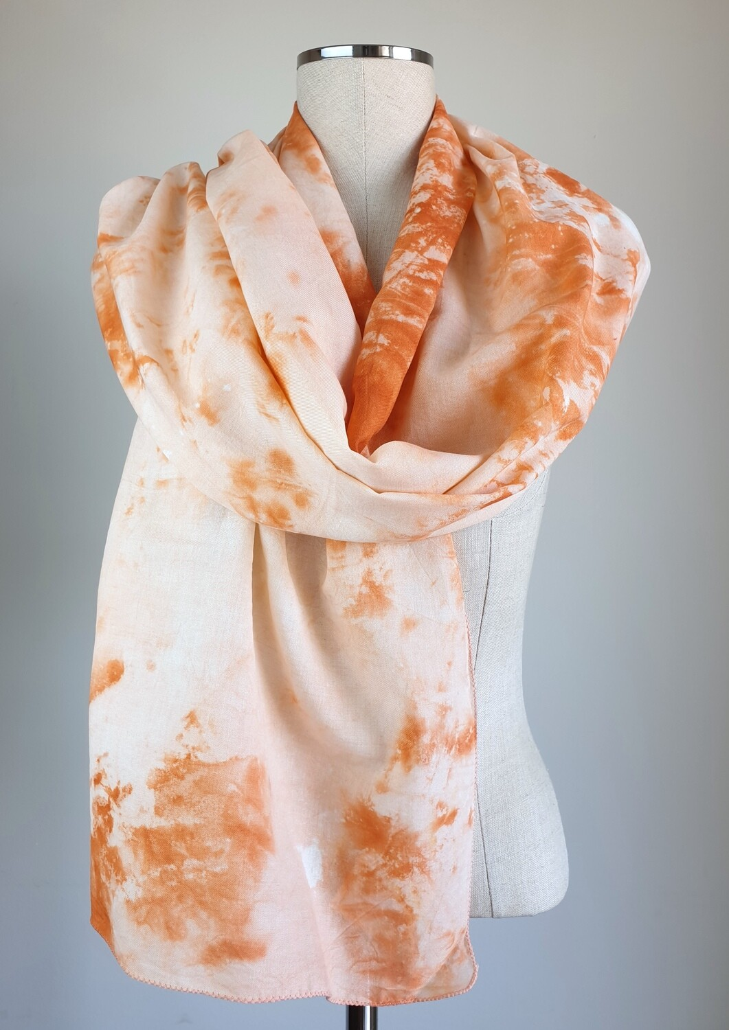 Hand-dyed Ombre Scarf: Orange Sunstone