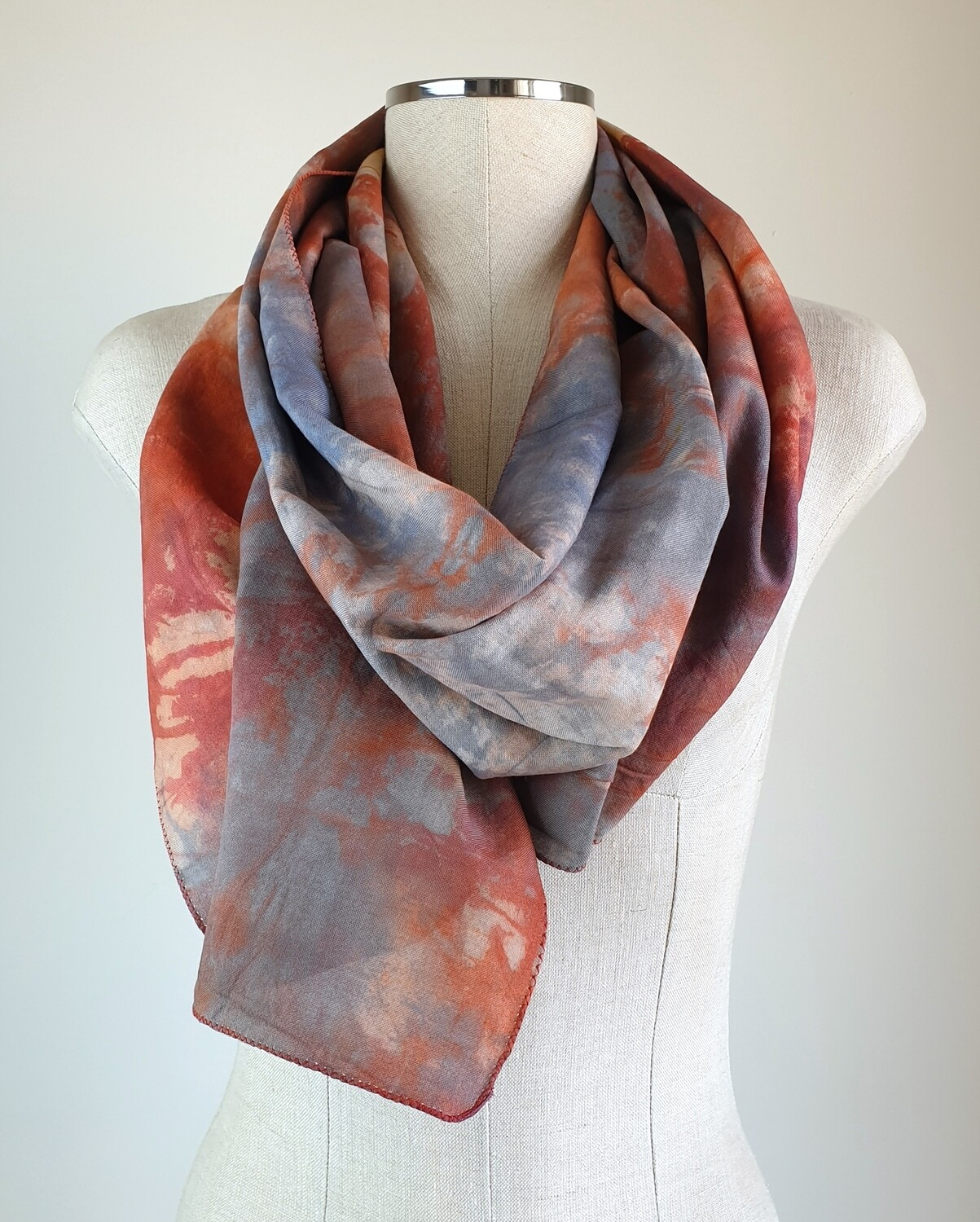 Hand-dyed Ombre Scarf: Blue Louise Quartzite